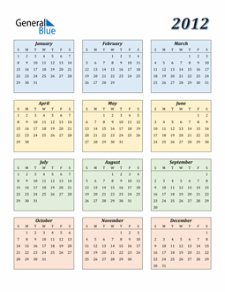 Image of 2012 2012 Calendar with Color
