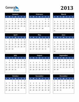 Image of 2013 2013 Calendar Stylish Dark Blue and Black