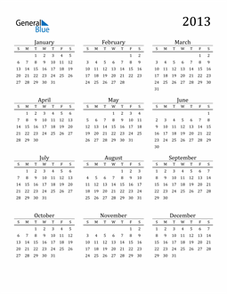 Image of 2013 2013 Printable Calendar Classic