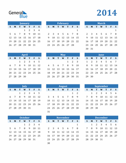 Image of 2014 2014 Calendar Blue with No Borders