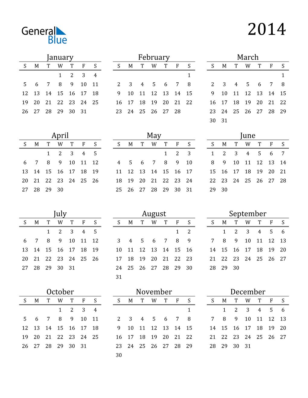 2014 Calendar Pdf Word Excel