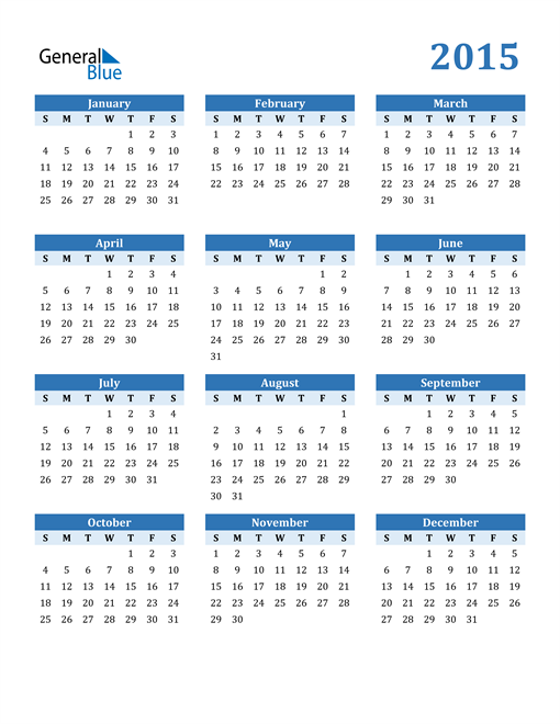 Image of 2015 2015 Calendar Blue with No Borders