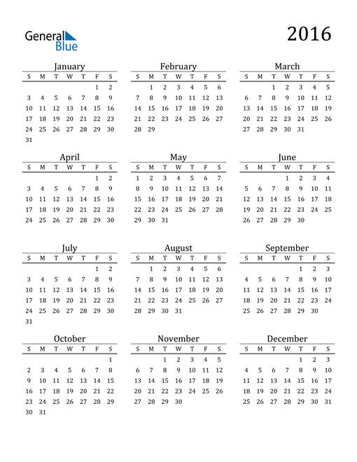 Image of 2016 2016 Printable Calendar Classic