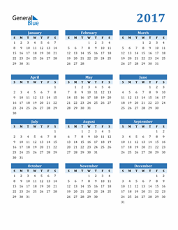 Image of 2017 2017 Calendar Blue with No Borders