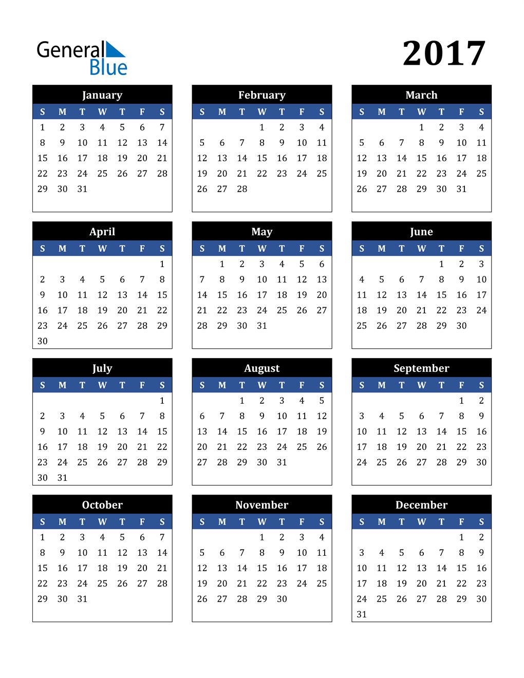 Word Template Calendar 2017 from cdn.generalblue.com