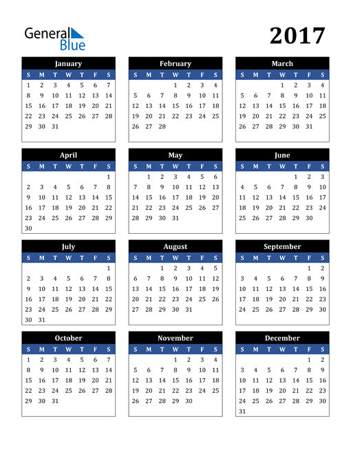 Image of 2017 2017 Calendar Stylish Dark Blue and Black