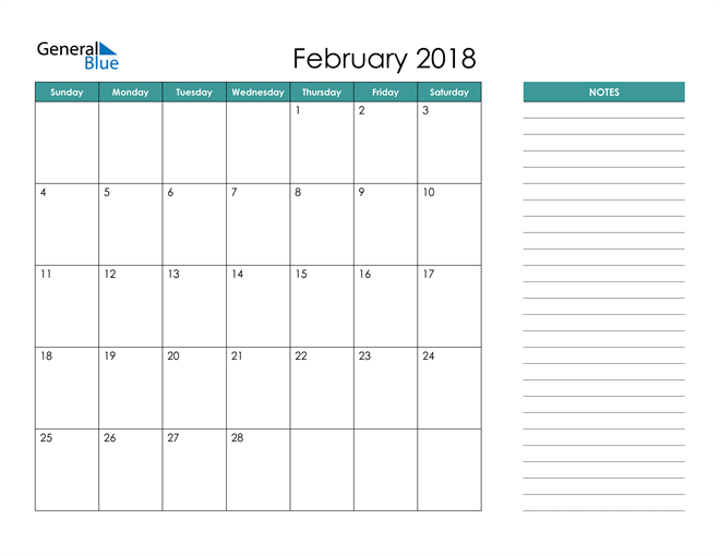 February 2018 Calendar with Notes