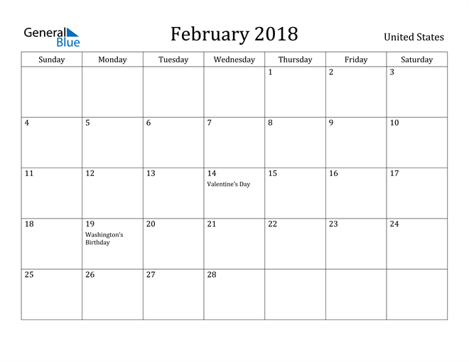 Image of February 2018 United States Calendar with Holidays Calendar