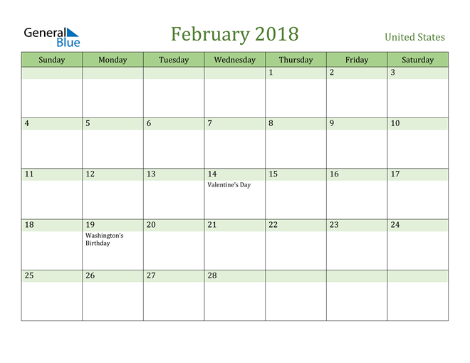 Image of February 2018 Cool and Relaxing Green Calendar Calendar