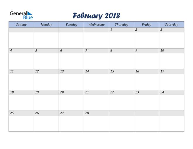 February 2018 Blue Calendar