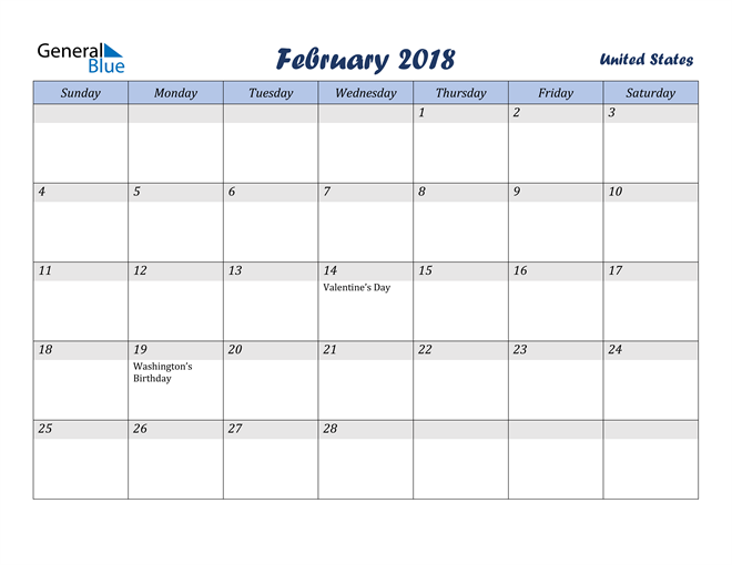 Image of February 2018 Italicized and Cool Blue, A Fun Calendar in PDF, Word and Excel Calendar
