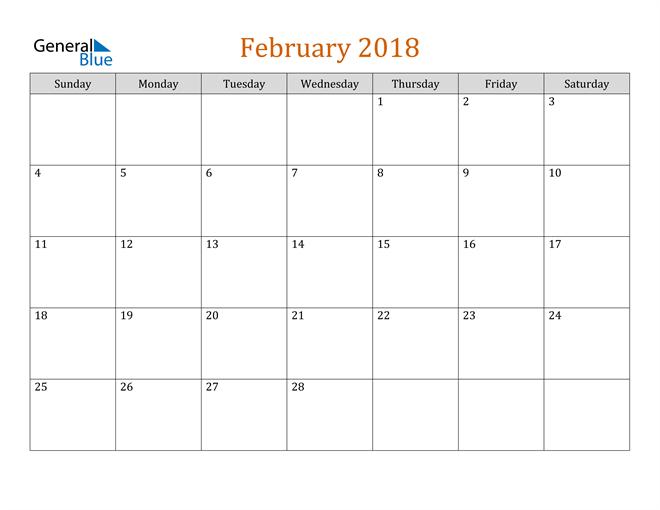 Editable February 2018 Calendar