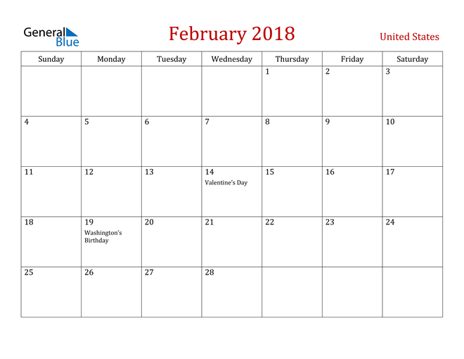 Image of February 2018 Dark and Red Professional Office Calendar Calendar