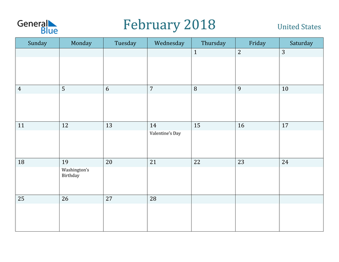 Image of February 2018 Colorful Turquoise Calendar in PDF, Word and Excel Calendar