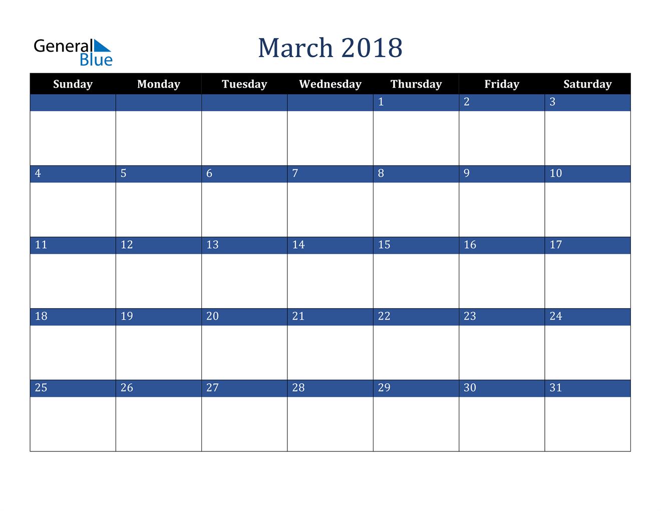 Image of March 2018 Stylish Dark Blue Calendar in PDF, Word and Excel Calendar