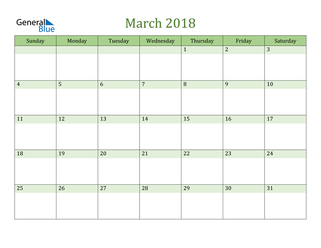 Image of March 2018 Cool and Relaxing Green Calendar Calendar