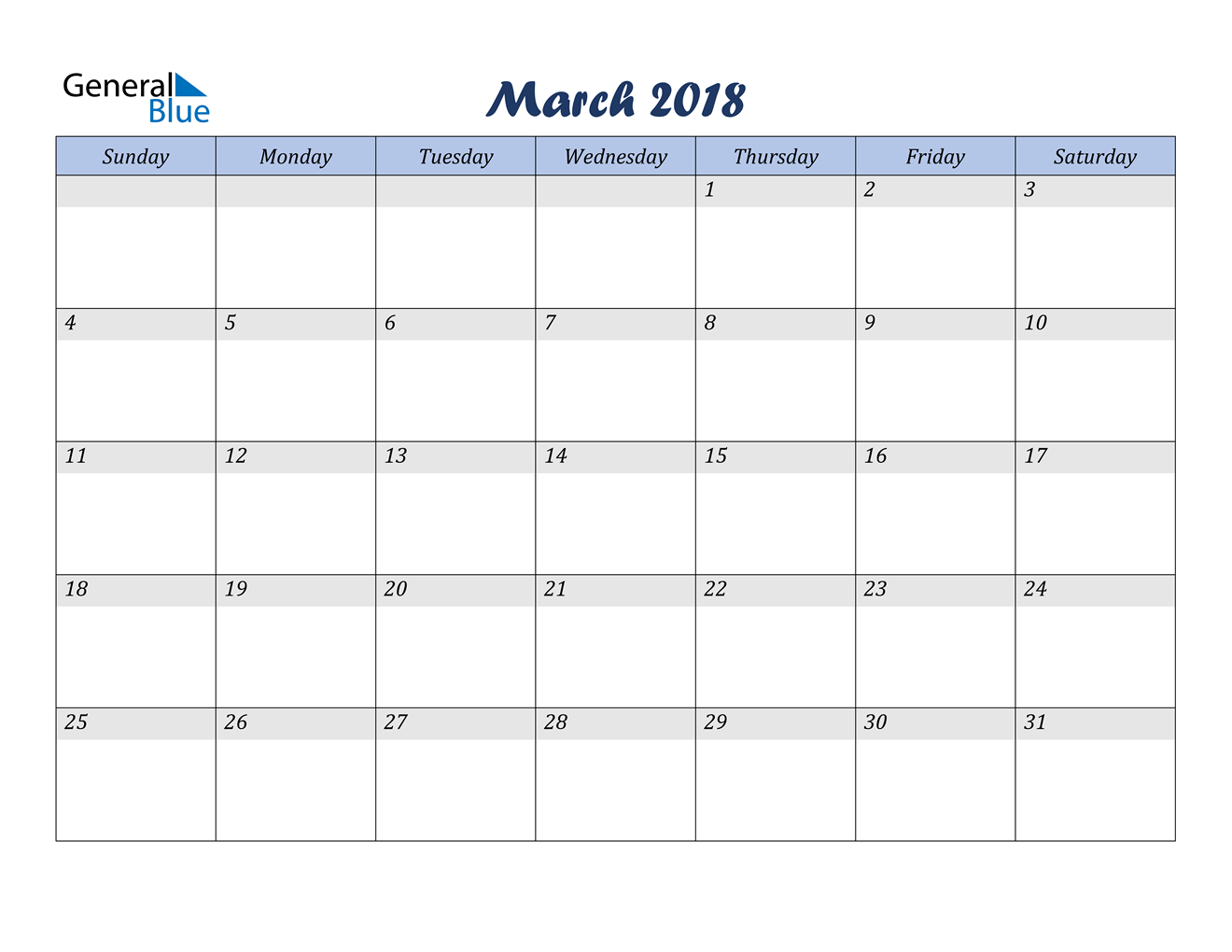 Image of March 2018 Italicized and Cool Blue, A Fun Calendar in PDF, Word and Excel Calendar