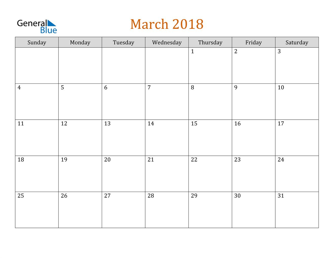 Image of March 2018 Contemporary Orange PDF, Word and Excel Calendar Calendar