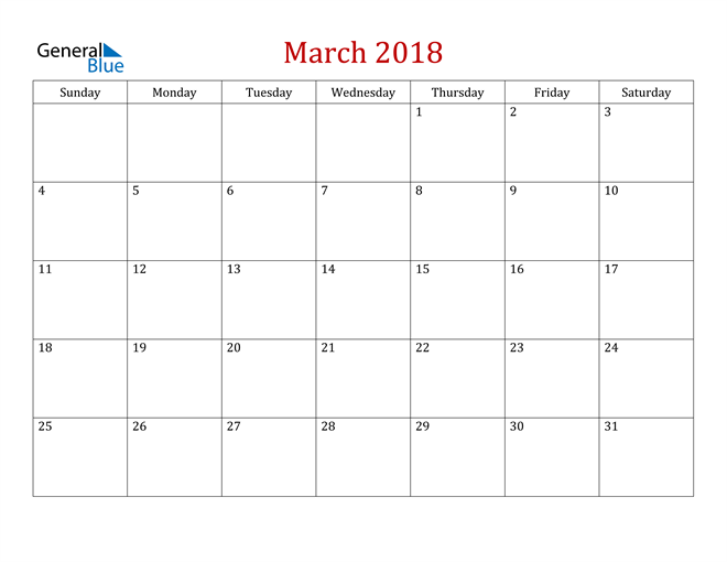 Image of March 2018 Dark and Red Professional Office Calendar Calendar