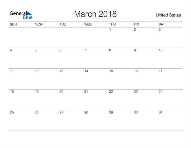 Image of March 2018 A Streamlined Design, The Perfect Printable Calendar. Calendar