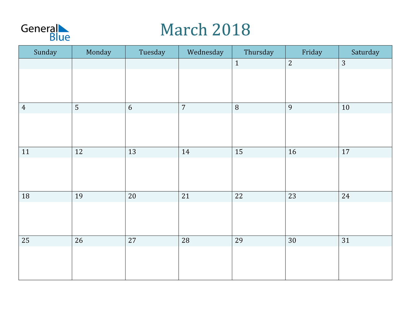Image of March 2018 Colorful Turquoise Calendar in PDF, Word and Excel Calendar