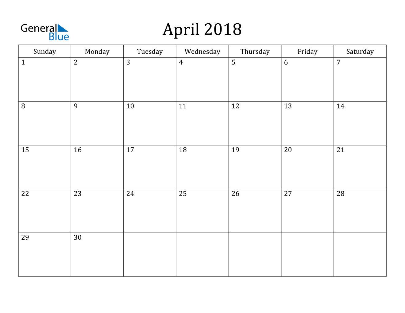 Image of April 2018 Classic Professional Calendar Calendar