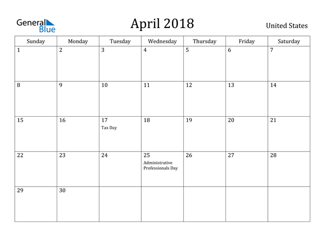 Image of April 2018 United States Calendar with Holidays Calendar