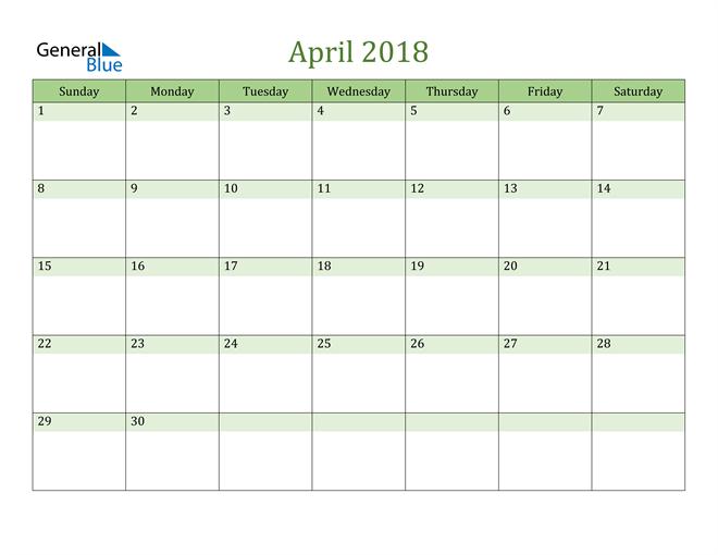 Image of April 2018 Cool and Relaxing Green Calendar Calendar
