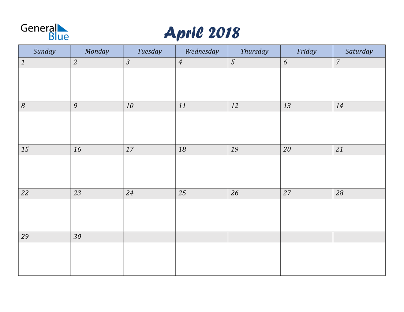 Image of April 2018 Italicized and Cool Blue, A Fun Calendar in PDF, Word and Excel Calendar