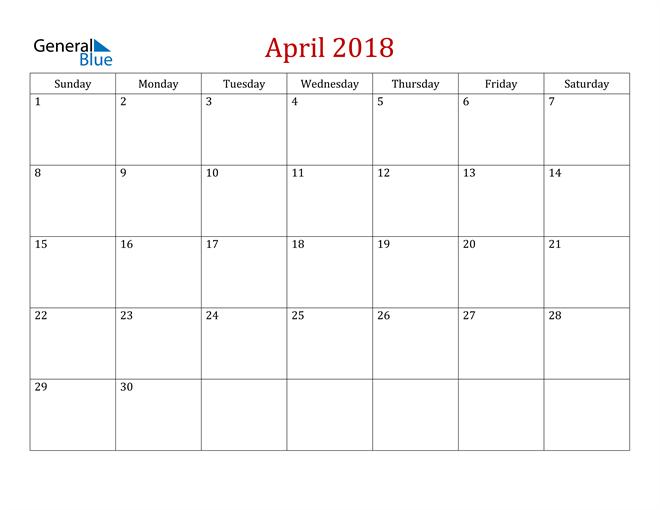 Image of April 2018 Dark and Red Professional Office Calendar Calendar