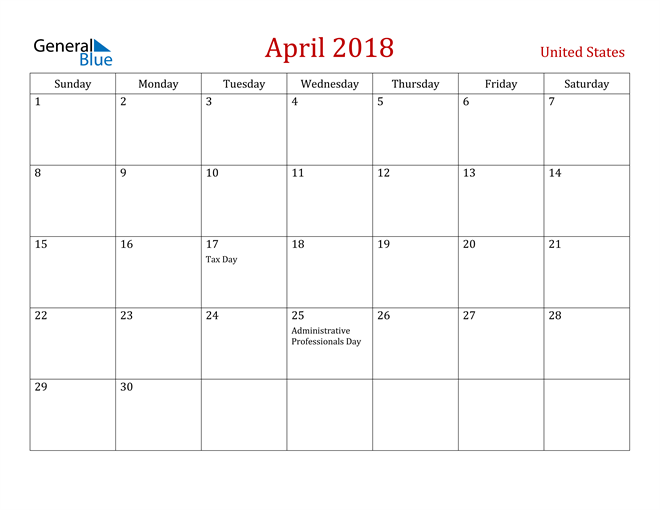 Image of April 2018 Dark and Red Professional Office Calendar Calendar