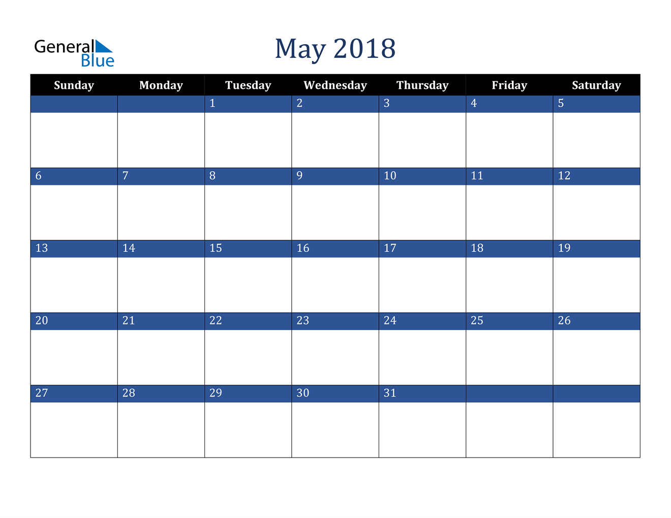 Image of May 2018 Stylish Dark Blue Calendar in PDF, Word and Excel Calendar