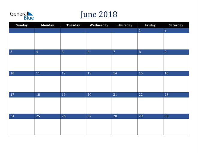 Image of June 2018 Stylish Dark Blue Calendar in PDF, Word and Excel Calendar