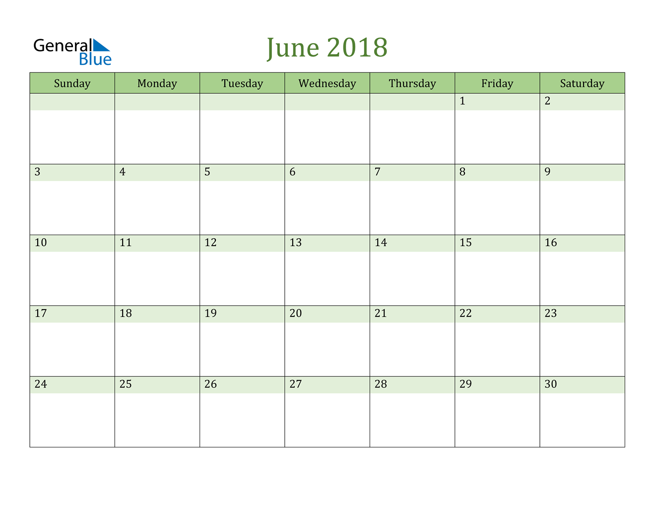 Image of June 2018 Cool and Relaxing Green Calendar Calendar
