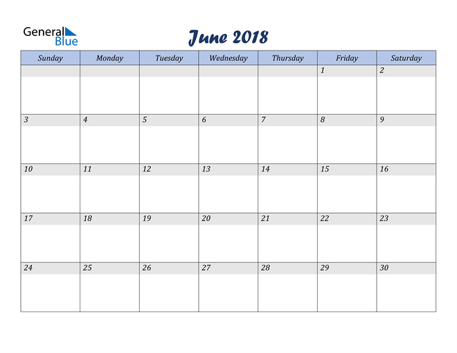 Image of June 2018 Italicized and Cool Blue, A Fun Calendar in PDF, Word and Excel Calendar