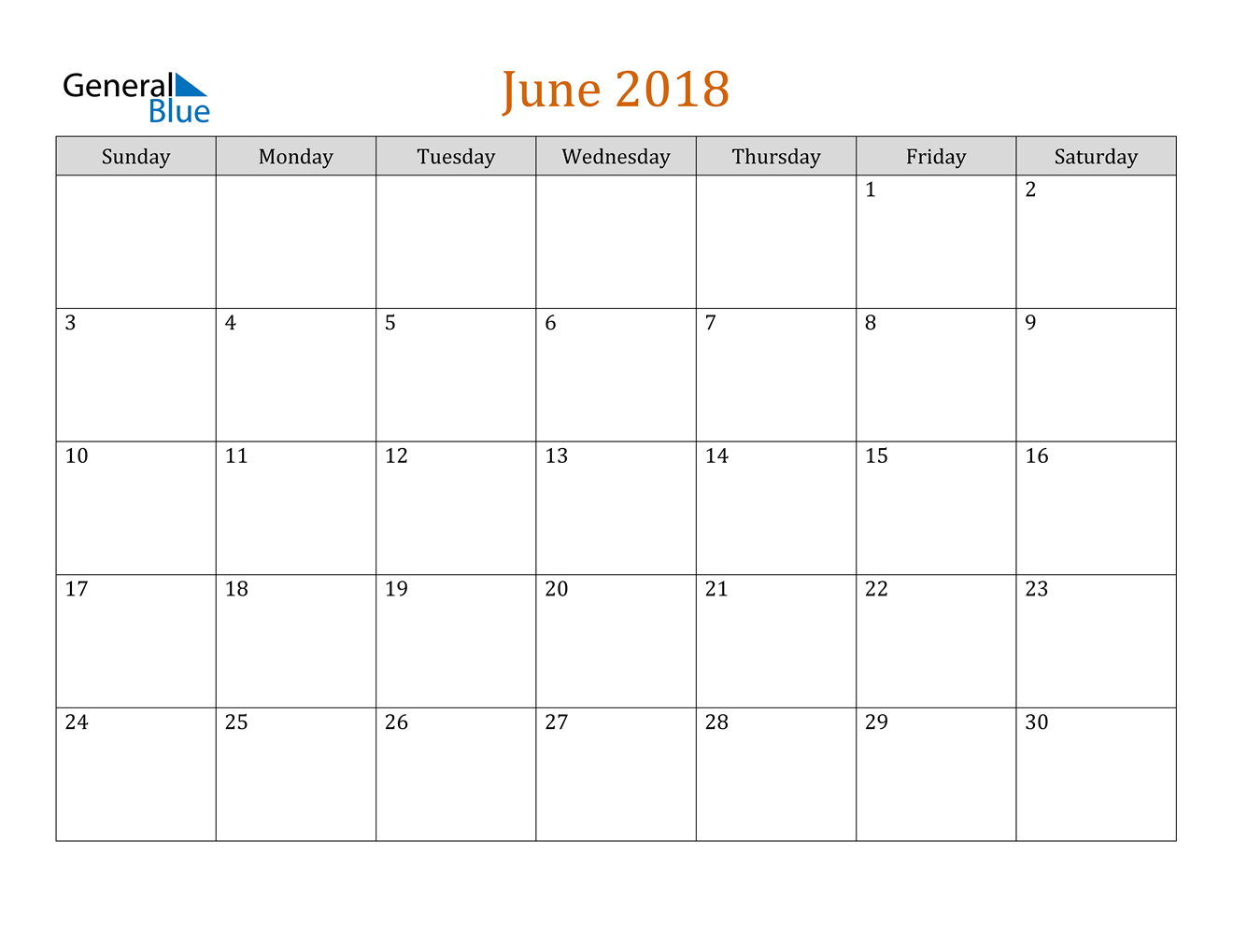 Image of June 2018 Contemporary Orange PDF, Word and Excel Calendar Calendar
