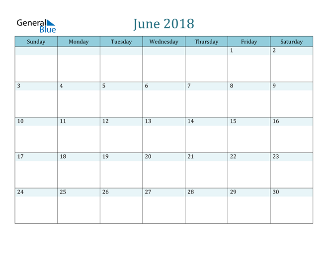 Image of June 2018 Colorful Turquoise Calendar in PDF, Word and Excel Calendar