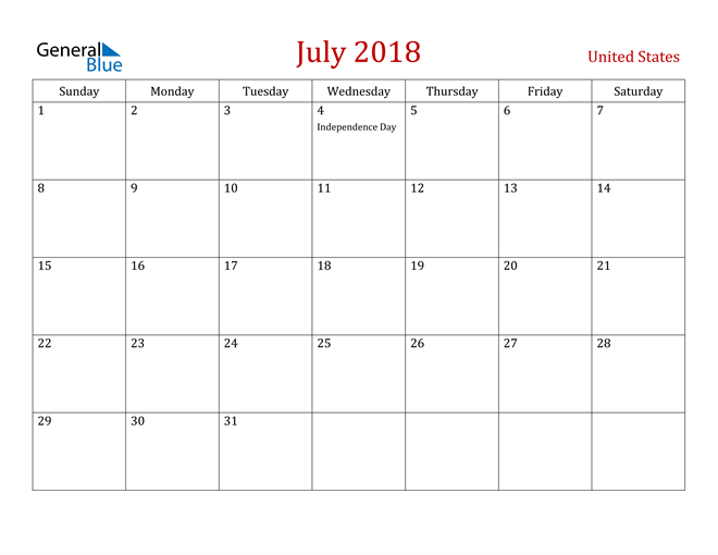 Image of July 2018 Dark and Red Professional Office Calendar Calendar