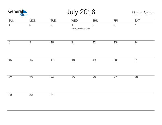 Image of July 2018 A Streamlined Design, The Perfect Printable Calendar. Calendar