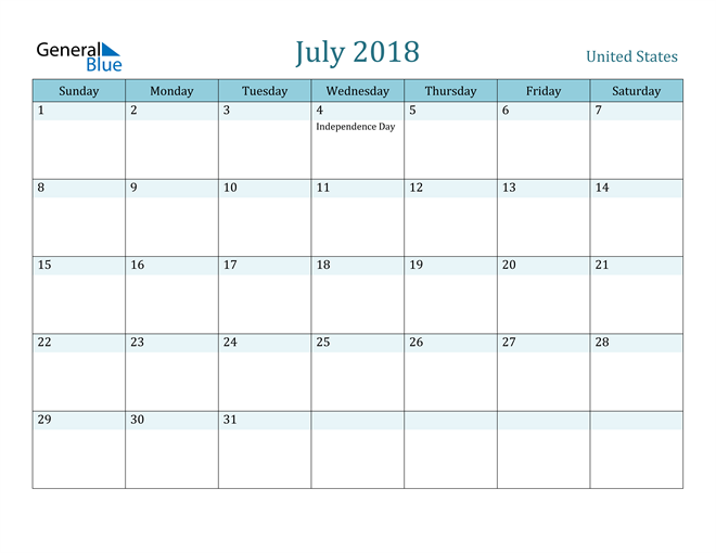 Image of July 2018 Colorful Turquoise Calendar in PDF, Word and Excel Calendar