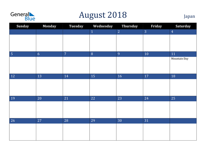 Image of August 2018 Stylish Dark Blue Calendar in PDF, Word and Excel Calendar