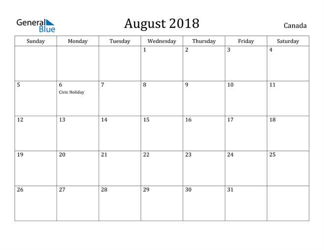 Image of August 2018 Canada Calendar with Holidays Calendar