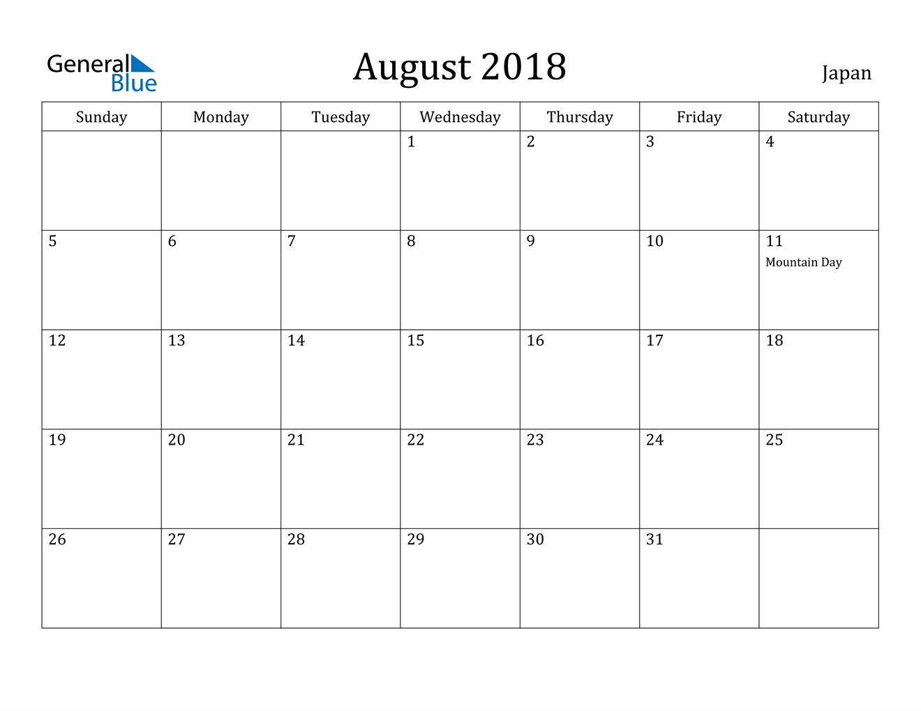 Image of August 2018 Japan Calendar with Holidays Calendar