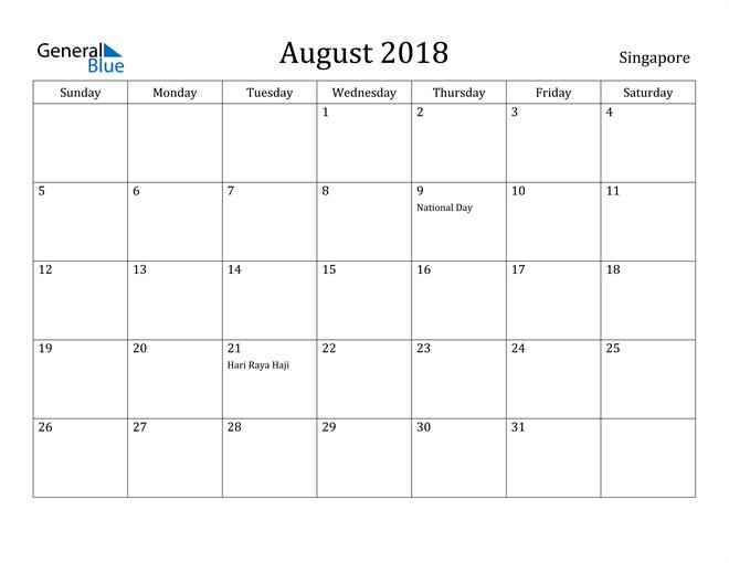 Image of August 2018 Singapore Calendar with Holidays Calendar