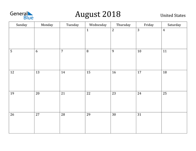 Image of August 2018 United States Calendar with Holidays Calendar