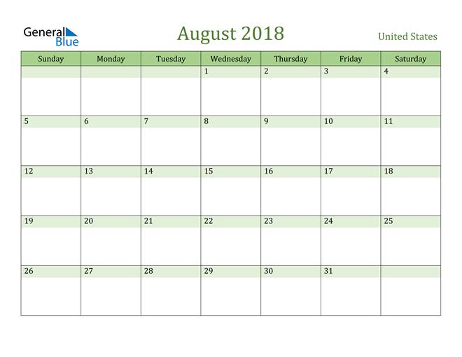 Image of August 2018 Cool and Relaxing Green Calendar Calendar