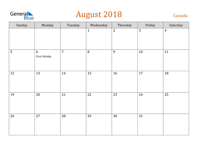 Image of August 2018 Contemporary Orange PDF, Word and Excel Calendar Calendar