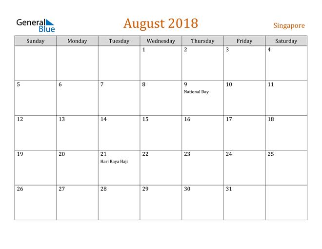 Image of August 2018 Contemporary Orange PDF, Word and Excel Calendar Calendar