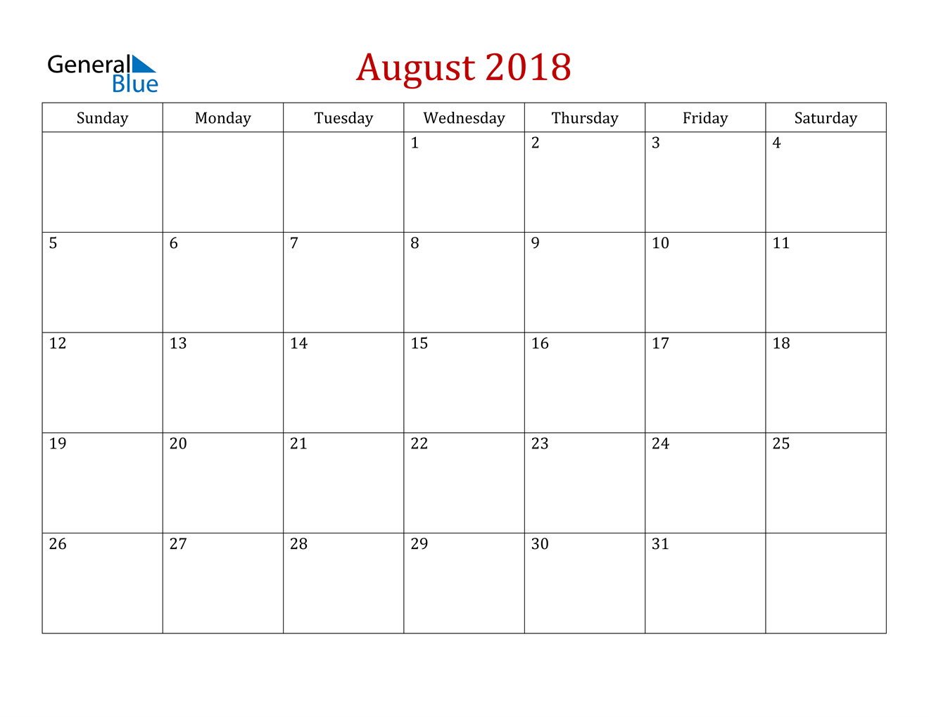 Image of August 2018 Dark and Red Professional Office Calendar Calendar