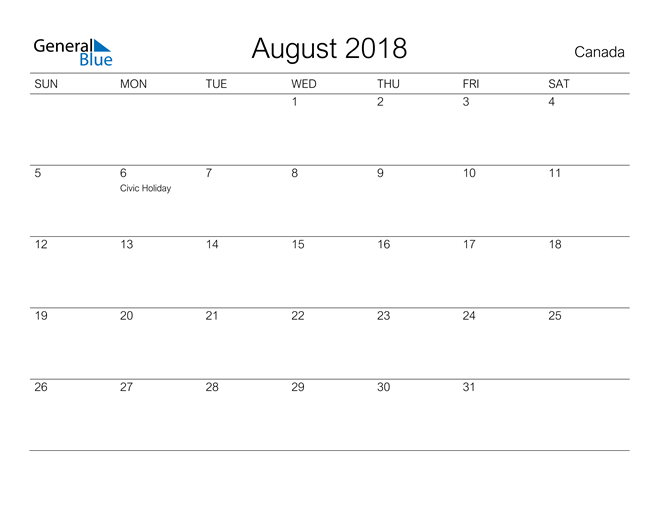 Image of August 2018 A Streamlined Design, The Perfect Printable Calendar. Calendar